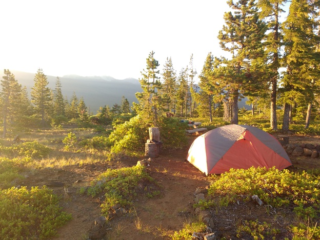 Tent on mountaintop