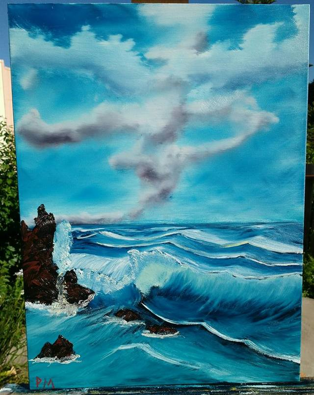Painting of waves breaking against a rock
