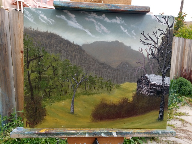 Painting of valley with barn in the Smoky Mountains
