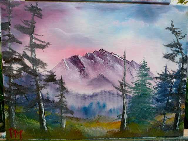 Painting of mountain and scraggly trees at sunset