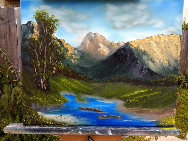 Painting of a pond in an alpine meadow, with a few trees