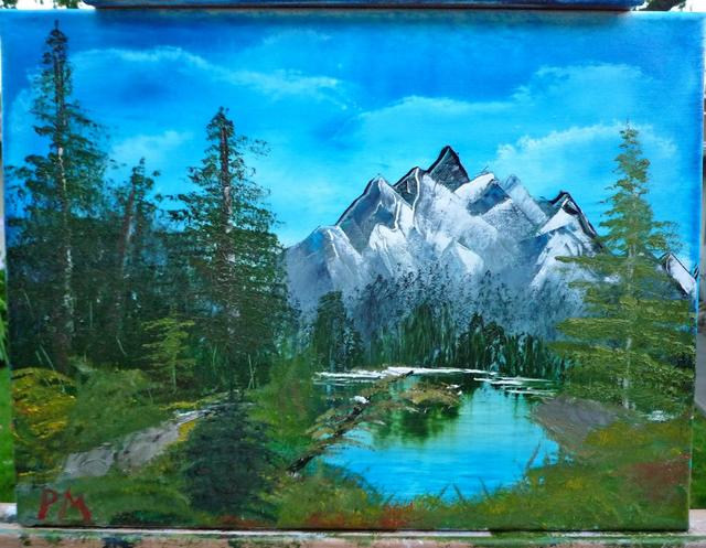 Painting of mountain lake surrounded by brush