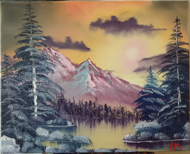 Painting of snowy mountains and frosted shrubberies