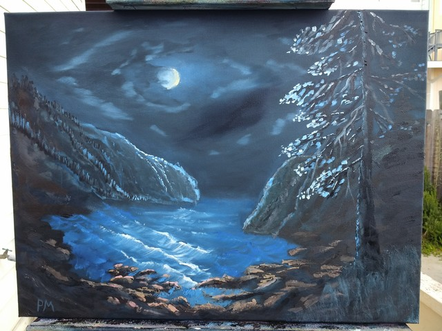 Painting of a rocky, Northern California Coast, with evergreen tree, at night.