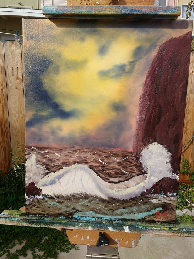 Painting of waves breaking by a seacliff at sunset.