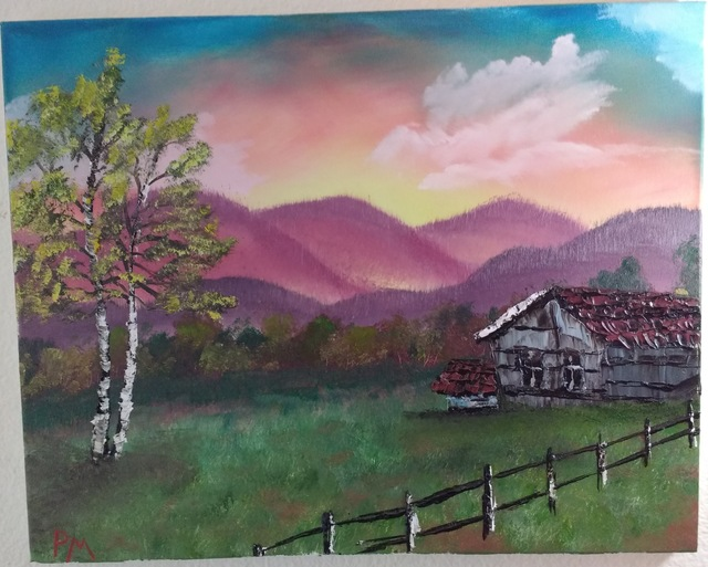Painting of field before foothills, with rustic house and fence, at sunset.