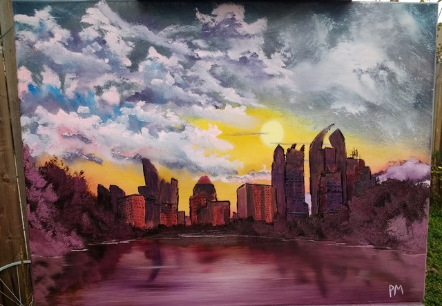 Painting of the Midtown Atlanta Skyline seen from Piedmont Park