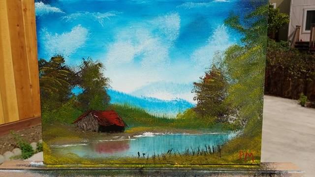 A painting of a barn by a pond.